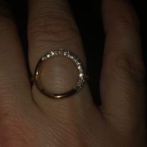 Gold clear rhinestone Michael Kors circle ring